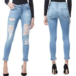 Good American Good Legs Fray Ankle Skinny Jeans 6